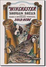 WINCHESTER - Dog & Quail Tin Sign rifle shotgun handgun hunting