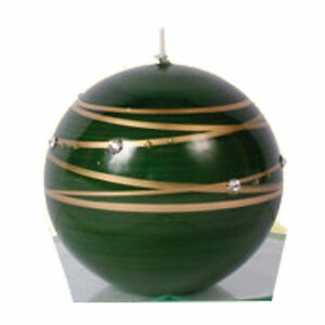 Dekorkerze-Kerzen-Kugel-034-Jupiter-034-gruen-034-Streifen-034-80-mm