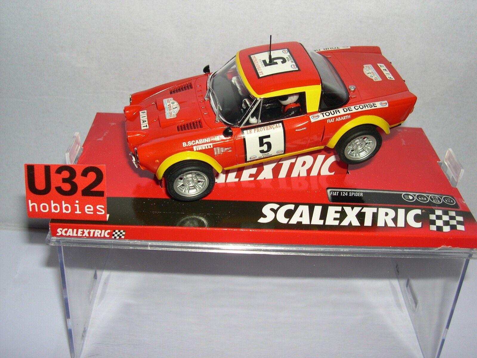 SCALEXTRIC A10220S300 FIAT 124 SPYDER ABARTH T.DE CORSE '74 SCABINI-BACCHELLI
