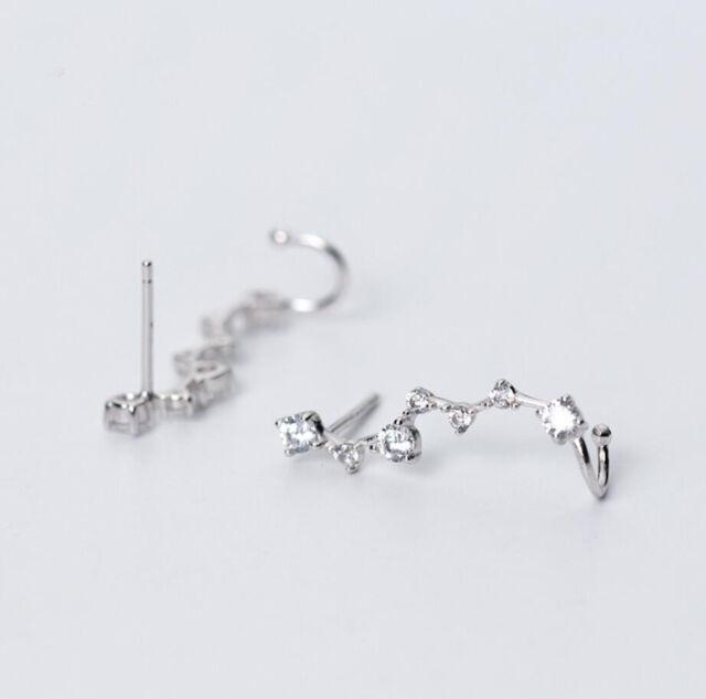 1x Blume Zirkonia Ohrklemme Ear cuff 925 Sterling Silber Ohrringe Damen A1866