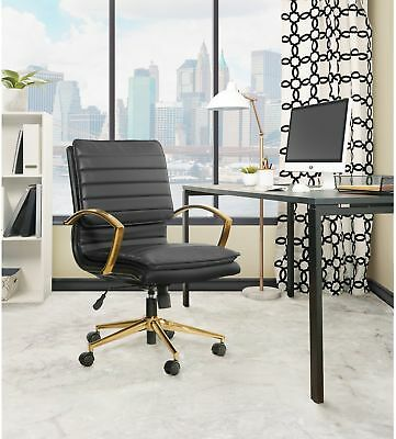Fabulous Modern Faux Leather Office Desk Chair Gold Finish Base Mid Back Lumbar Support Ebay Ibusinesslaw Wood Chair Design Ideas Ibusinesslaworg