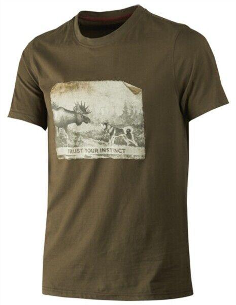 Harkila Odin Moose & Dog T Shirt Willow Green Men's Country Hunting Shooting