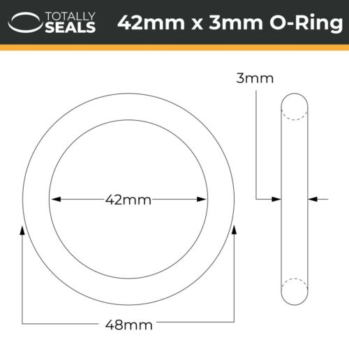 O-Rings ID 42mm Inner Diameter Nitrile Rubber 70A Shore Metric Seals Packets
