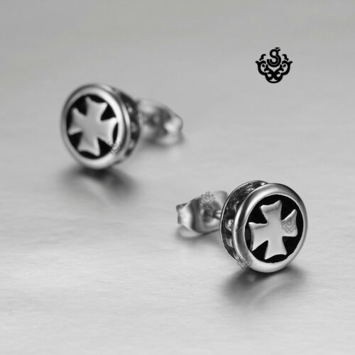 Silver earrings stainless steel cross stud uni solid 2019 New Arrival
