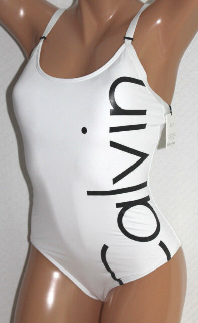 3d73637433cfa Calvin Klein Logo Classic One-piece Swimsuit White Size 12 Cgmms508 ...