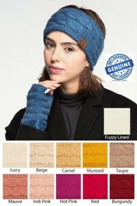 81a608a93bd CC Headband Head wrap Cable Knit Fuzzy Sherpa Lined Ear Warmer Head ...