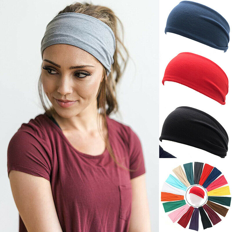Wide Headband Sweatband Stretch Sweat Elastic Sport Yoga Run