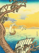 CULTURAL LANDSCAPE BOAT SAIL JAPAN LAKE SHOTEI TAKAHASHI POSTER ART PRINT BB746A