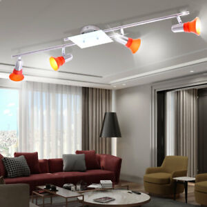 clairage plafonnier luminaire plafond verre orange salle de s jour chambre ebay. Black Bedroom Furniture Sets. Home Design Ideas
