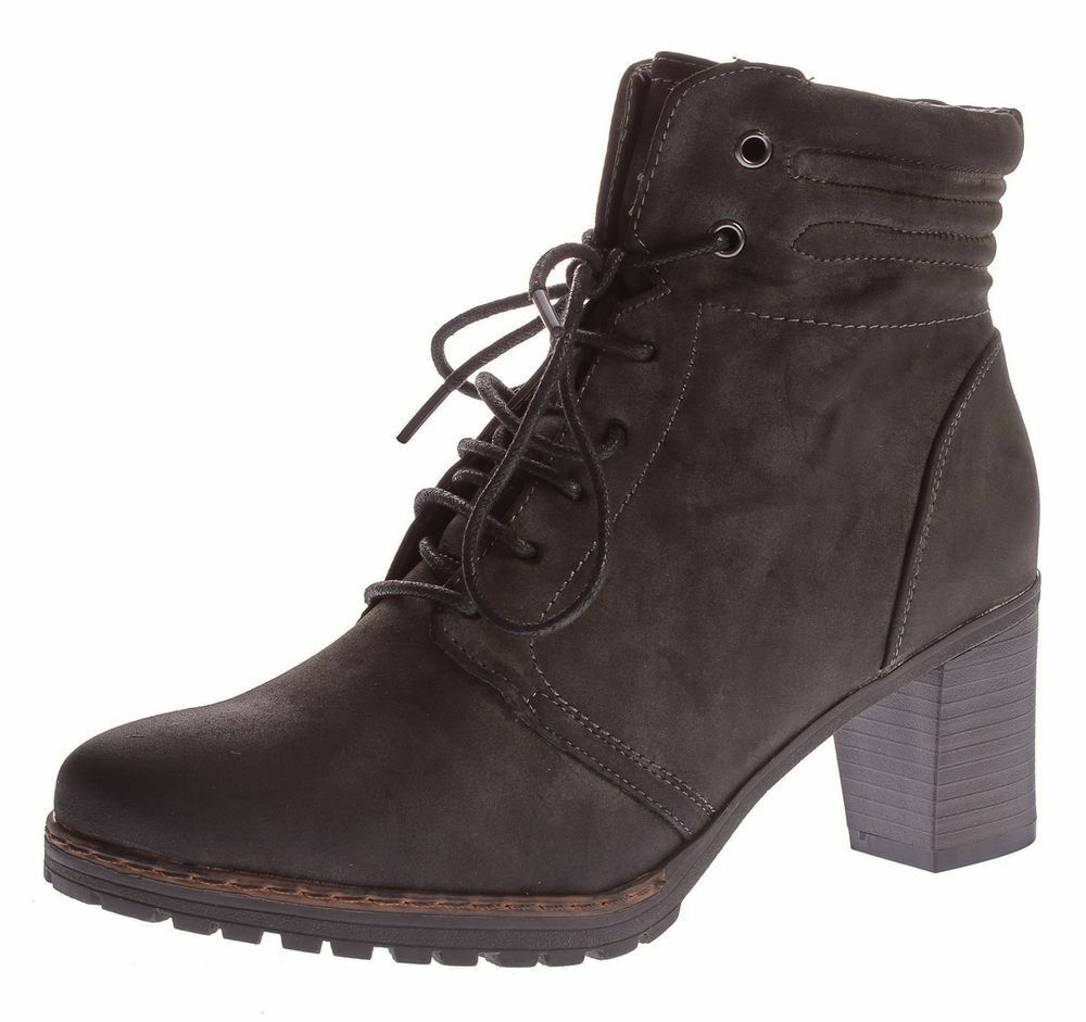 Ladies Ankle Boots Sun & Shadow Padded Boots shoes Heel Grey Dirty 37-41