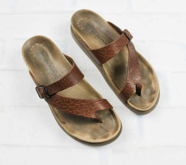 Sandals by Mephisto,  Desert Tan Grain, Black and Green Patent Leather, Size 40