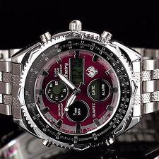 INFANTRY Herren Analog Quarz Digitaluhr Armbanduhr Uhr Stoppuhr Alarm Pilot Rot