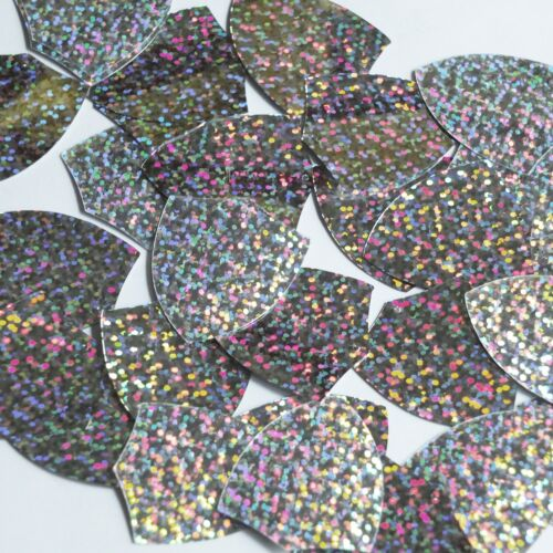 "Shield Sequin 1.5"" Silver Hologram Glitter Sparkle Metallic Couture Paillettes"