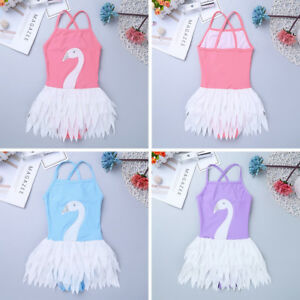 29ffde68d12af Girls' One Piece Bathing Suit Toddler Swimwear Swan Ruffles Tutu ...