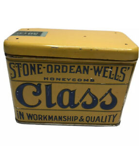 Vintage-Yellow-Honeycomb-Class-50-Cigar-Tin-Humidor-1910s-Hinged