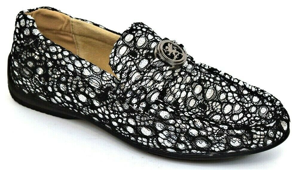 Mens Casual shoes Moc Toe Slip On Loafers Silver Black Lace & Sequin STACY ADAMS
