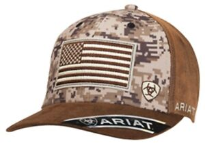 da1caf5a76f Ariat Mens Hat Baseball Cap USA Flag Logo Snapback Camo   Brown ...