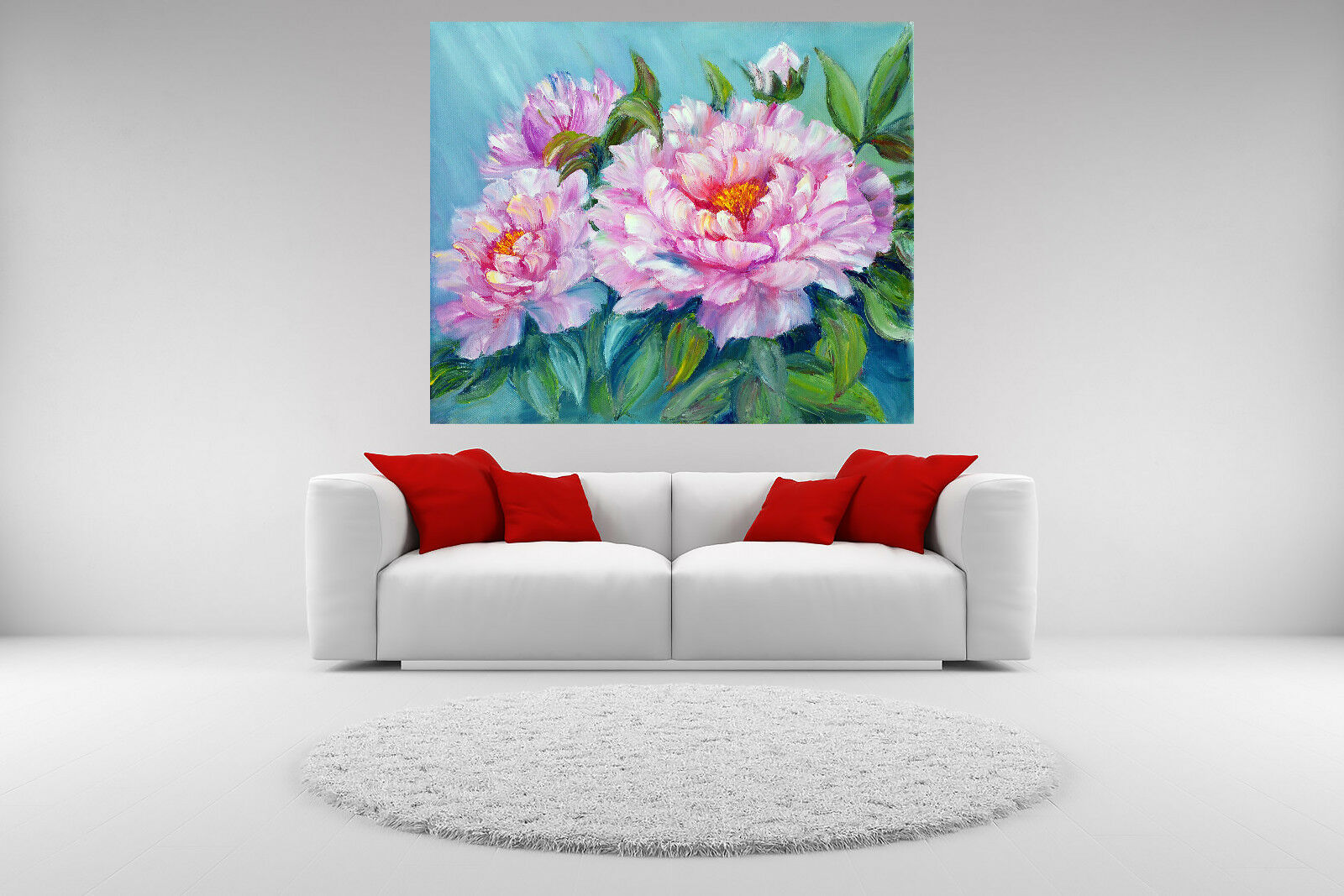 Peony Flowers Canvas Giclee Print Unframed Vibrant Picture Home Decor Wall Art