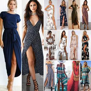 Senora-Boho-hippie-verano-vestido-Maxi-vestido-de-noche-largo-de-fiesta-vestido-vestidos-de-playa