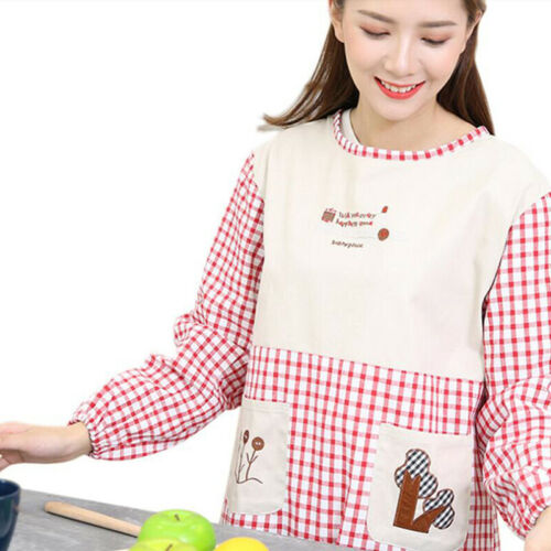 Apron Kitchen Waterproof And Oil-Proof Long Sleeve Cooking Work With Pockets 6A