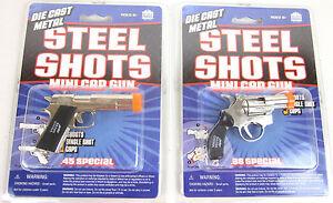 2x-Die-Cast-MINIATURE-CAP-GUNS-Metal-1911-auto-45-pistol-amp-38-Special-Revolver