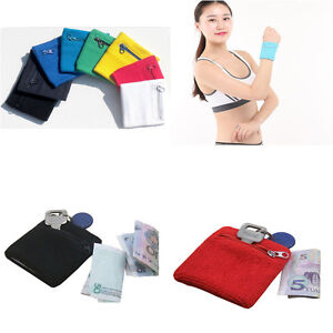 Sweatband travel athletic wrist wallet sports wristband for Travel shirts with zipper pockets