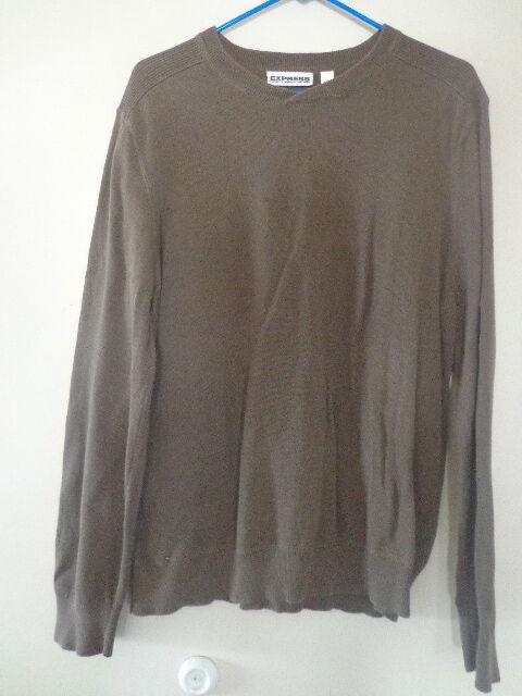Men's EXPRESS Slub Knit Solid Long Sleeve Sweater - Brown - L -