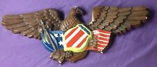 antique CHALKWARE PATRIOTIC EAGLE WALL HANGING w/RED/WHITE/BLUE FLAG & BADGE USA