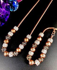 Rare-DANBURY-MINT-NATURE-039-S-Fleurir-Cuivre-Cristal-Collier-Bracelet-Ensemble