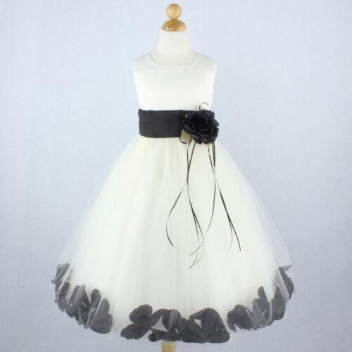 IVORY BLACK Flower Girl Dress Petals Formal Recital Prom Birthday Wedding Party