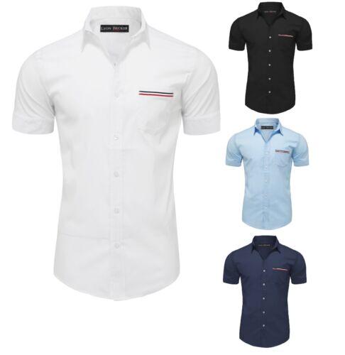 Camicie a maniche corte da Uomo Smart Casual Slim Fit Camicia Estate M L XL XXL PS23