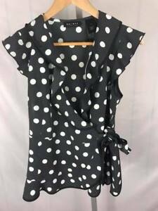 NWT-AXCESS-Ruffled-Front-Polka-Dot-Top-Blouse-Women-039-s-M-Retail-44-AA