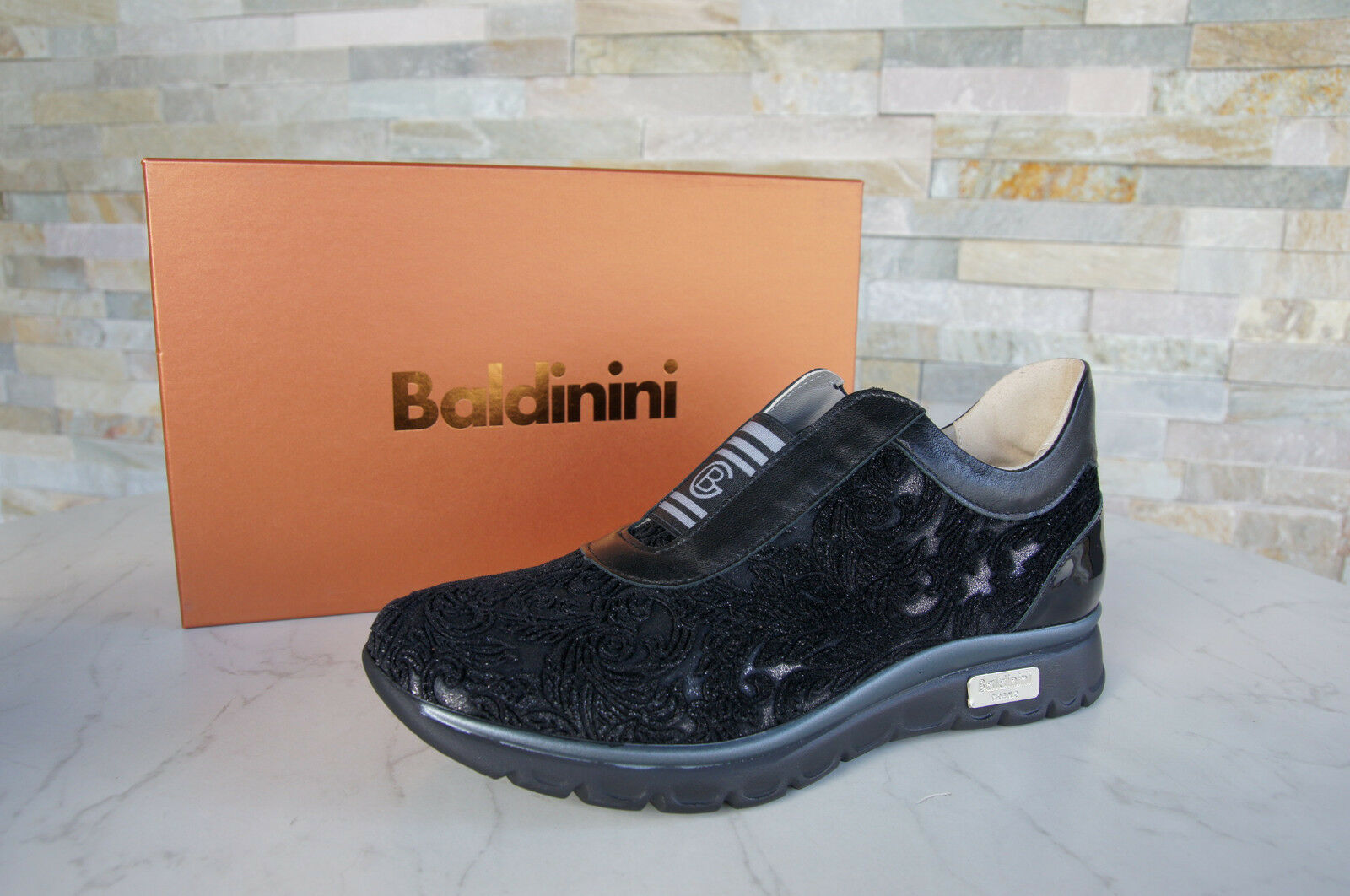 Baldinini 37 Slippers Slip-On Low shoes 847390 shoes Black New Formerly Rrp