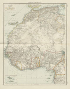 French Africa Map.Colonial Africa North West British French Nigeria Sahara The