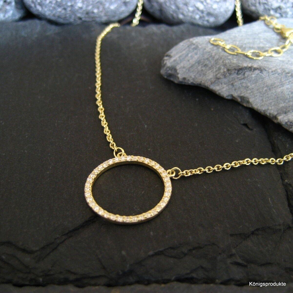 Circle of life Halskette mit Zirkonia besetzt, 925er silver vergoldet, 42+5 cm