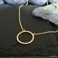 Circle of life Halskette mit Zirkonia besetzt, 925er Silber vergoldet, 42+5 cm