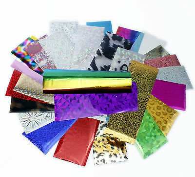 30pcs 4x10cm Mixed Designs Nail Art Foil Transfers Groovy Spaced Out Manicure
