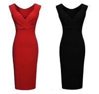 Red / Black Stretch Bodycon sleeveless Dress Size 8 10 12 14 Sexy red Dresses