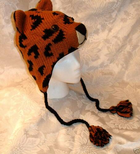 LEOPARD HAT Knit FL LINED Cheetah animal deLux costume ADULT spotted cat ski cap