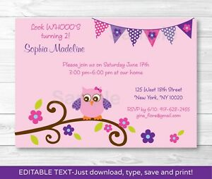 Girl owl blossom printable birthday invitation editable pdf ebay image is loading girl owl blossom printable birthday invitation editable pdf stopboris Image collections