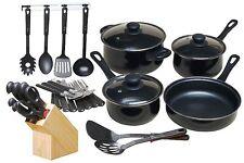 NEW! 32 Piece Kitchen Cooking Set Pots Pans Knives Flatware Utensils Combo
