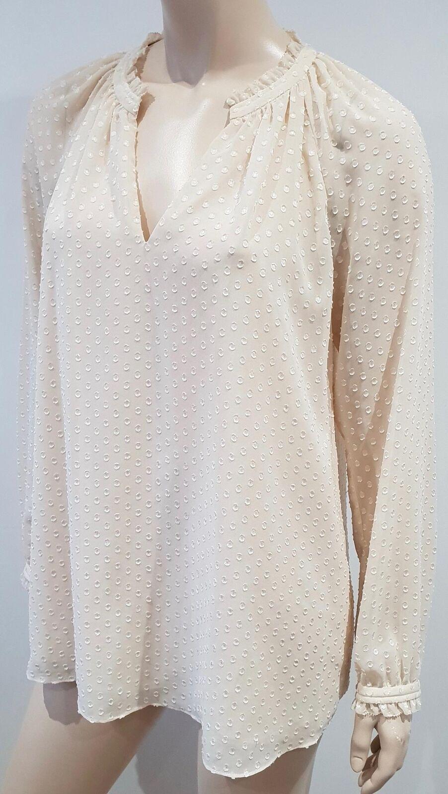 DIANE VON FURSTENBURG Cream Beige Polka Dot Long Sleeve Tunic Blouse Top 8 UK12