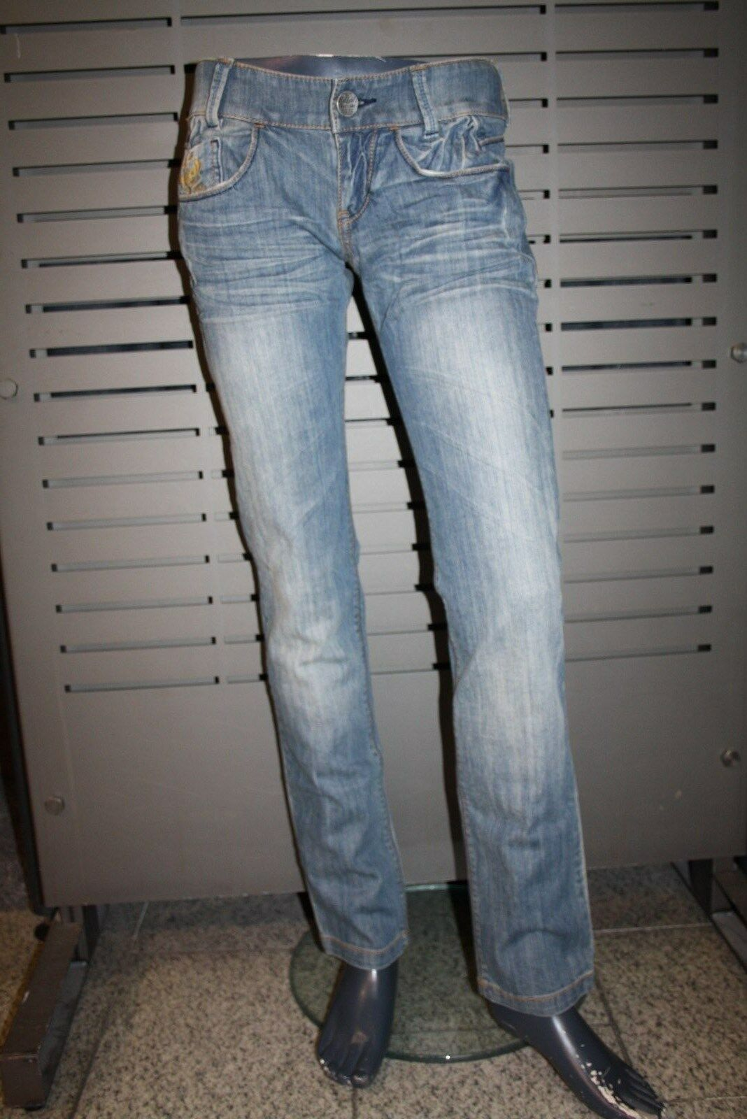 KILLAH BY MISS SIXTY Jeans EBEL Dirty Stone Washed bleu Neuf Slim Straight Leg