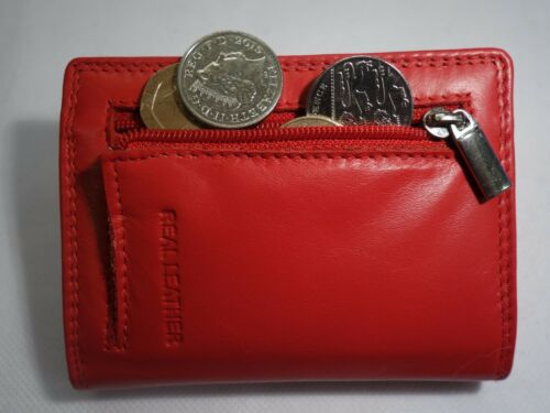 Soft Leather Credit Card Holder RED with coin Pocket Top Brand