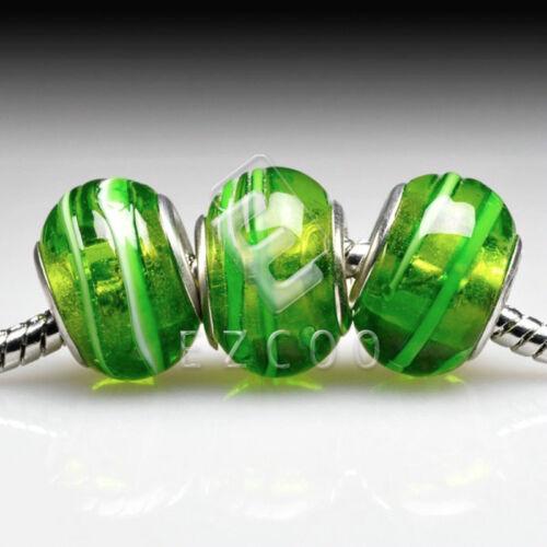 5stk.Muranoglas Perlen Lampwork Großlochperlen Spacer European Beads DIY LB98