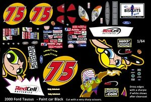 #75 Wally Dallenbach Cartoon Network 2000 Ford 1/64th HO Scale Slot Car Decals