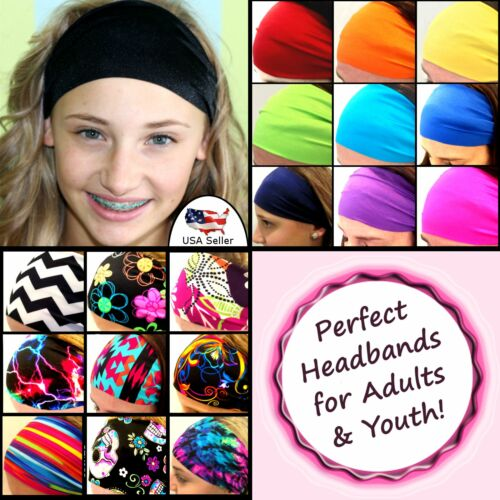 "4/"" Wide Women Yoga Sport Headband Stretch Hairband Elastic Hair Band"