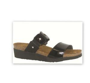 NAOT Ashley Black Patent Leather Slip On  Sandals Women Size 38 US Size 7M