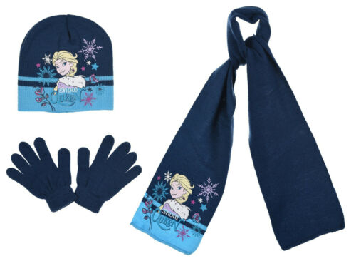 Official Disney Frozen Elsa /& Anna Knitted Beanie Hat Gloves Scarf Set 2-7 Years