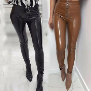 US-Women-Vinyl-PVC-Wet-Look-Shiny-Disco-Elasticated-High-Waist-Leggings-Pant